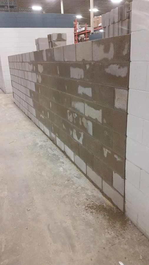 Commercial Masonry concrete block wall completed by Ampligy Masonry