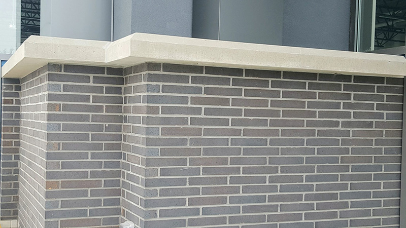 Commercial Masonry brick job for a plaza completed by Amplify Masonry