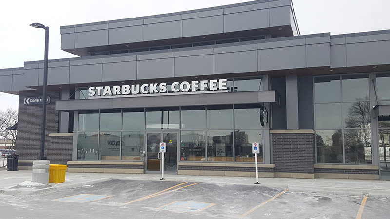 Commercial Masonry job for Starbucks completed by Amplify Masonry